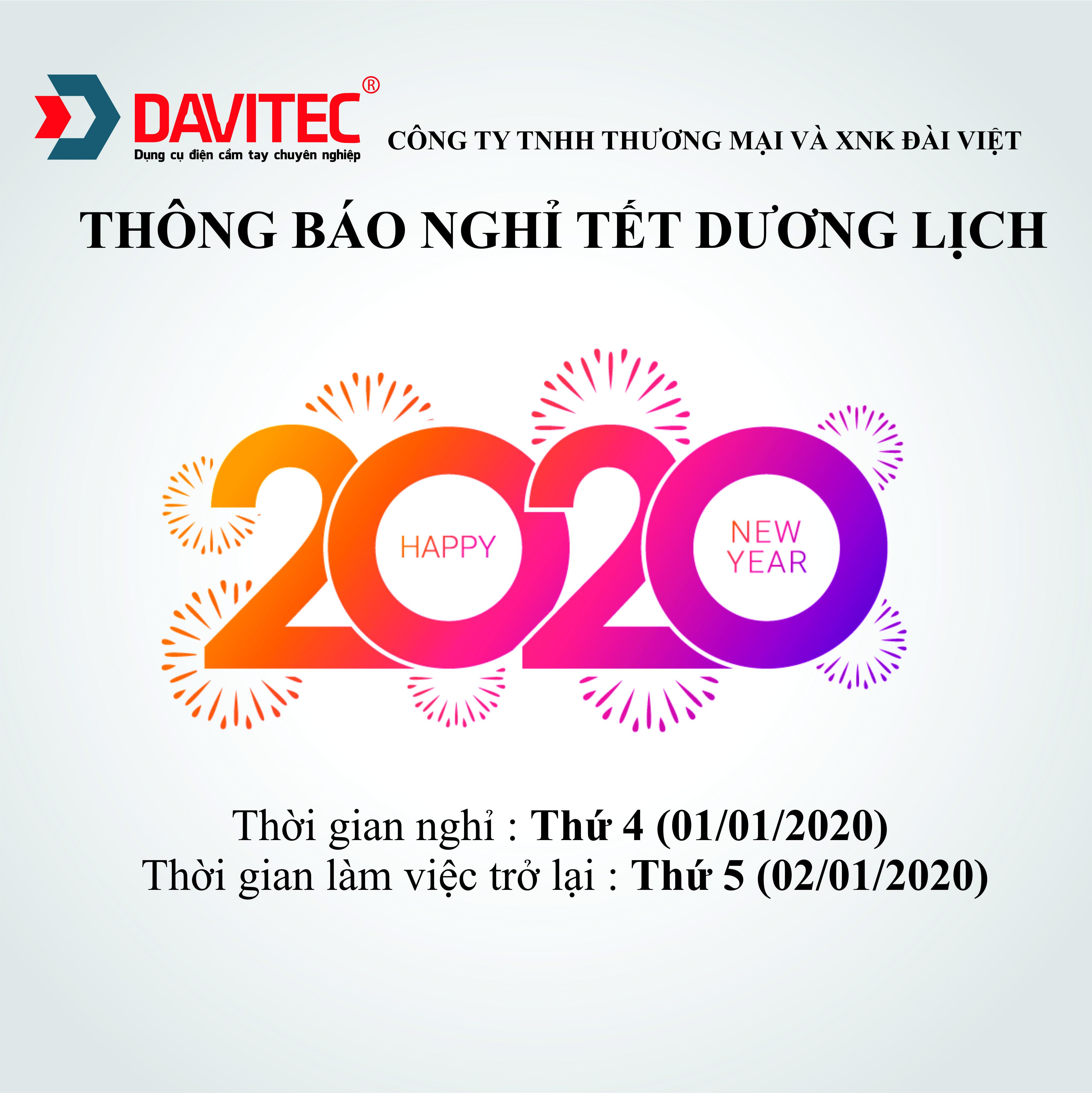 Lịch nghỉ tết Dương Lịch 2020